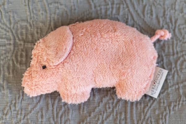 Babykissen Jule das Schweinchen mit Traubenkernfüllung - Bio Plüsch
