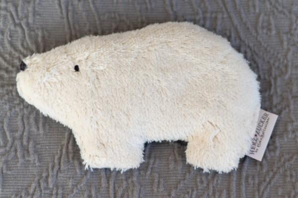 Babykissen Bjarne der Eisbär mit Traubenkernfüllung - Bio Plüsch