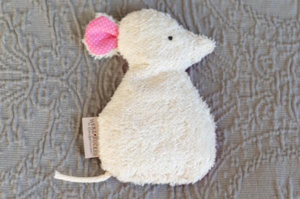 Babykissen Silja die Maus mit Traubenkernfüllung - Bio Plüsch