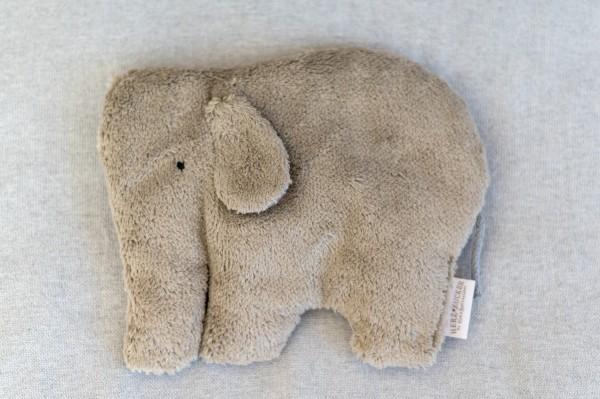 Kinderkissen Ole der Elefant mit Traubenkernfüllung - Bio Plüsch