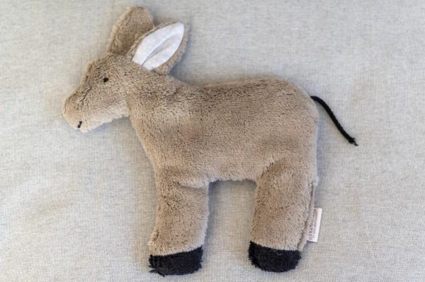 Kinderkissen Emil der Esel mit Traubenkernfüllung - Bio Plüsch