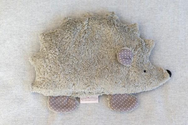 Kinderkissen Fritz der Igel mit Traubenkernfüllung - Bio Plüsch