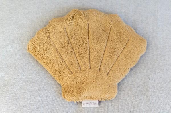 Kinderkissen Mucki die Muschel mit Traubenkernfüllung - Bio Plüsch