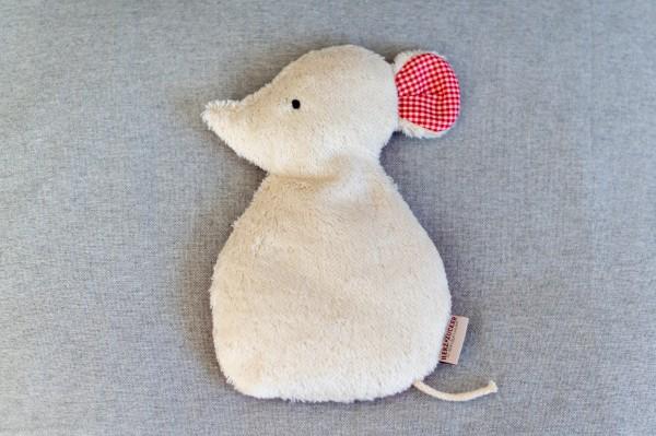 Kinderkissen Silja die Maus mit Traubenkernfüllung - Bio Plüsch