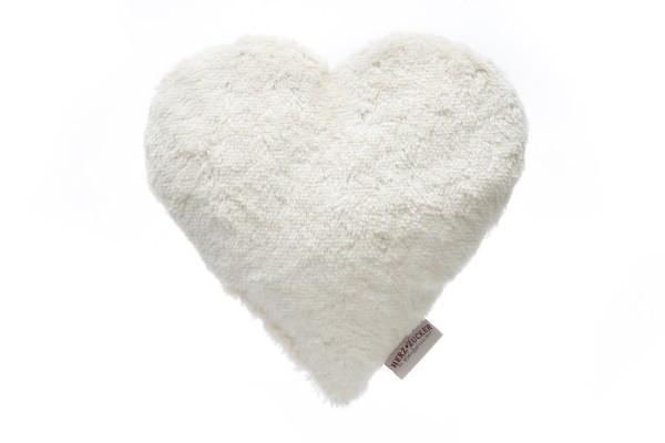 Bio Plüschkissen Herz weiß mit Kirschkernfüllung