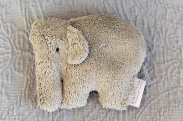Babykissen Ole der Elefant mit Traubenkernfüllung - Bio Plüsch
