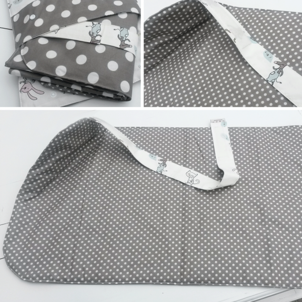 Wickelunterlage taupe / weiß gepunktet, 100% kbA Baumwolle mit Klettverschluß