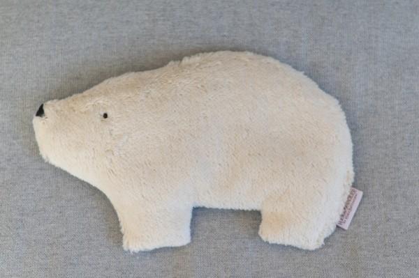 Kinderkissen Bjarne der Eisbär mit Traubenkernfüllung - Bio Plüsch
