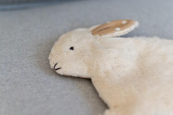 Kinderkissen Hennes der Hase mit Traubenkernfüllung - Bio Plüsch