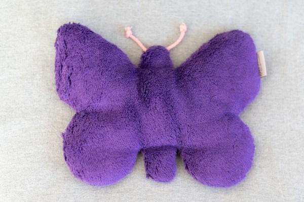 Kinderkissen Schmetterling Lilly mit Traubenkernfüllung - Bio Plüsch